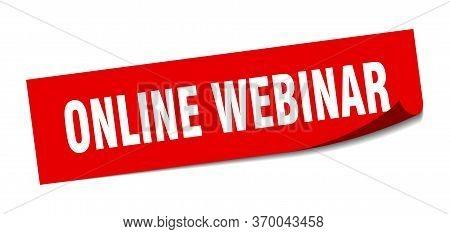 Online Webinar Sticker. Online Webinar Square Sign. Online Webinar. Peeler