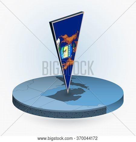 Michigan Map In Round Isometric Style With Triangular 3d Flag Of Us State Michigan, Vector Map In Bl