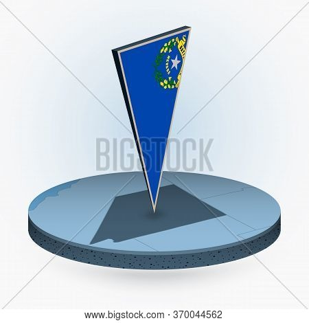 Nevada Map In Round Isometric Style With Triangular 3d Flag Of Us State Nevada, Vector Map In Blue C
