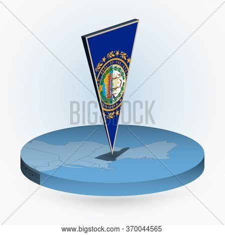 New Hampshire Map In Round Isometric Style With Triangular 3d Flag Of Us State New Hampshire, Vector