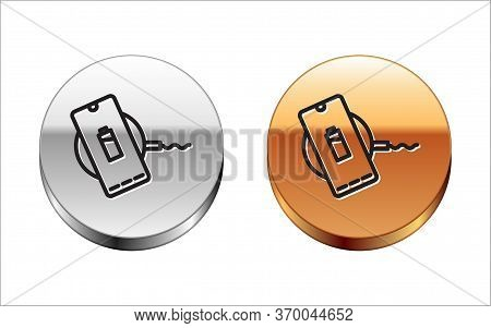Black Line Smartphone Charging On Wireless Charger Icon Isolated On White Background. Charging Batte
