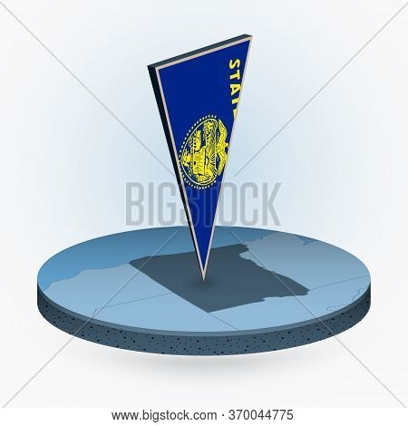 Oregon Map In Round Isometric Style With Triangular 3d Flag Of Us State Oregon, Vector Map In Blue C
