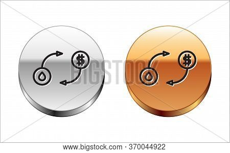 Black Line Oil Exchange, Water Transfer, Convert Icon Isolated On White Background. Silver-gold Circ