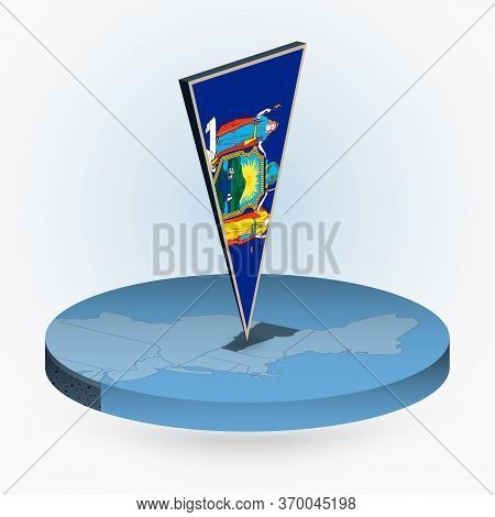 Vermont Map In Round Isometric Style With Triangular 3d Flag Of Us State Vermont, Vector Map In Blue