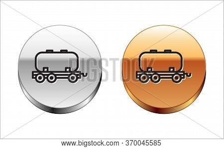 Black Line Oil Railway Cistern Icon Isolated On White Background. Train Oil Tank On Railway Car. Rai
