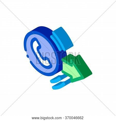 Outgoing Call Service Icon Vector. Isometric Outgoing Call Service Sign. Color Isolated Symbol Illus