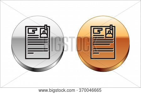 Black Line Lawsuit Paper Icon Isolated On White Background. Silver-gold Circle Button. Vector Illust