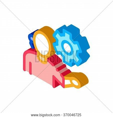 Help Desk Phone Settings Icon Vector. Isometric Help Desk Phone Settings Sign. Color Isolated Symbol
