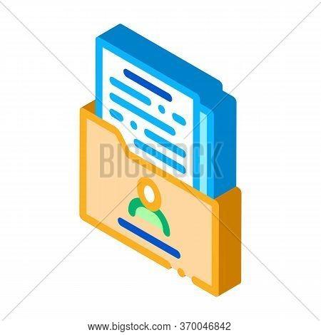 People Info Sheet Folder Icon Vector. Isometric People Info Sheet Folder Sign. Color Isolated Symbol