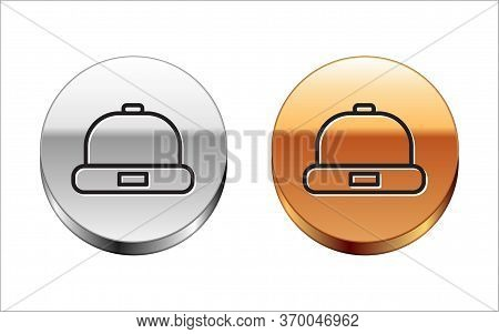Black Line Beanie Hat Icon Isolated On White Background. Silver-gold Circle Button. Vector Illustrat