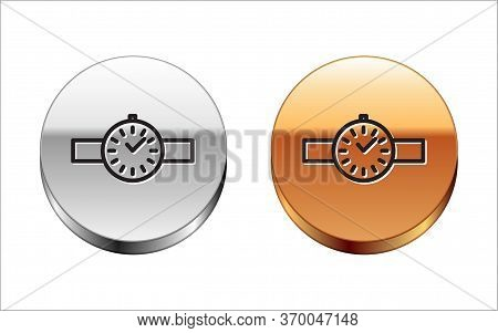 Black Line Wrist Watch Icon Isolated On White Background. Wristwatch Icon. Silver-gold Circle Button