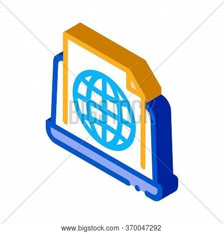 Global Search Engine Optimization Document Icon Vector. Isometric Global Search Engine Optimization
