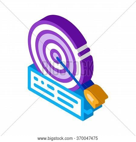 Dart Hit Target Icon Vector. Isometric Dart Hit Target Sign. Color Isolated Symbol Illustration