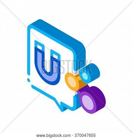 Magnetic Attraction At Dna Level Icon Vector. Isometric Magnetic Attraction At Dna Level Sign. Color
