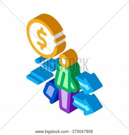 Man With Suitcase With Money Icon Vector. Isometric Man With Suitcase With Money Sign. Color Isolate