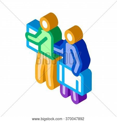 People With Luggage Icon Vector. Isometric People With Luggage Sign. Color Isolated Symbol Illustrat