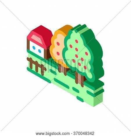 Orchard In Village Icon Vector. Isometric Orchard In Village Sign. Color Isolated Symbol Illustratio