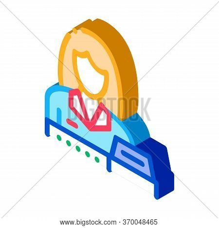 Woman Seller At Checkout Icon Vector. Isometric Woman Seller At Checkout Sign. Color Isolated Symbol