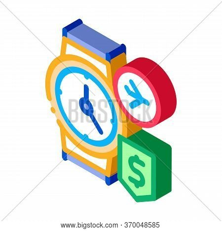 Purchase Cash Wristwatch Duty Free Icon Vector. Isometric Purchase Cash Wristwatch Duty Free Sign. C