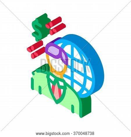 Global Profession Representative Realtor Icon Vector. Isometric Global Profession Representative Rea