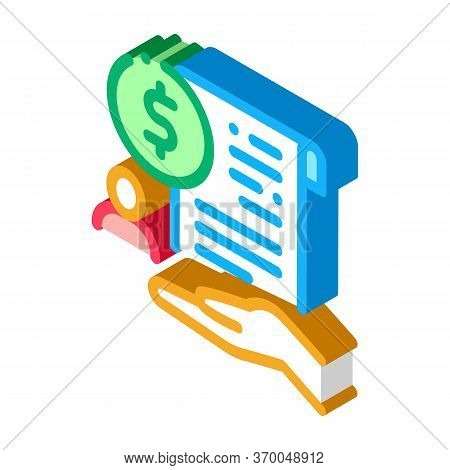 Cash Purchase Agreement Icon Vector. Isometric Cash Purchase Agreement Sign. Color Isolated Symbol I