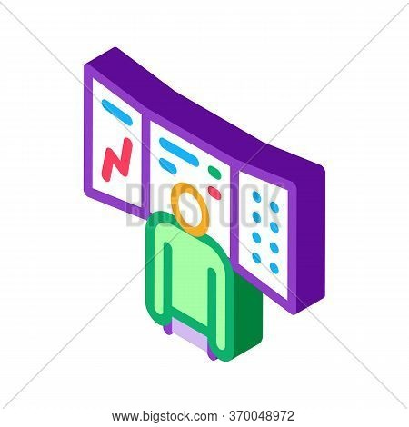 Promotion Board And Observing Person Icon Vector. Isometric Promotion Board And Observing Person Sig