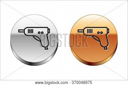 Black Line Electric Hot Glue Gun Icon Isolated On White Background. Hot Pistol Glue. Hot Repair Work