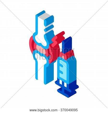 Preventive Injection For Arthritis Icon Vector. Isometric Preventive Injection For Arthritis Sign. C