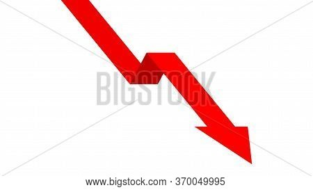 Red Arrow Pointing Down For Icon Isolated On White, Arrow Pointing Down For Clip Art