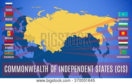 Map Of The Commonwealth Of Independent States (cis). Flags Of Countries-members Of Cis. Vector.