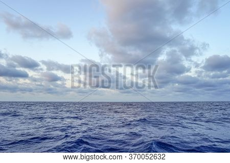Blue Morning Over The Deep Sea Summer. Blue Sunrise Over Mediterranean Deep Sea.