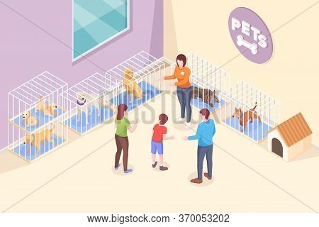 Pet Adoption, Family Chooses Dog From Shelter, Vector Isometric Illustration. Family Mother And Fath