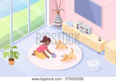 Pets, Girl Playing With Dog Puppies In Room, Vector Isometric Illustration. Kid Girl With Toy Ball A
