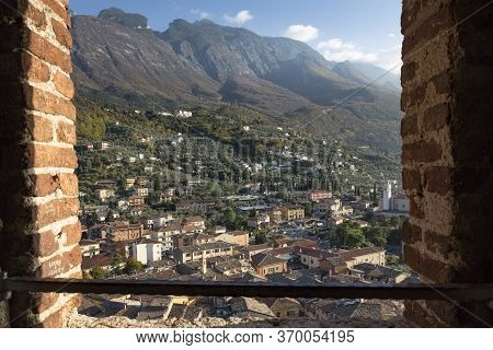 The Small Town Of Malcesine In Northern Italy On Lake Gardasee