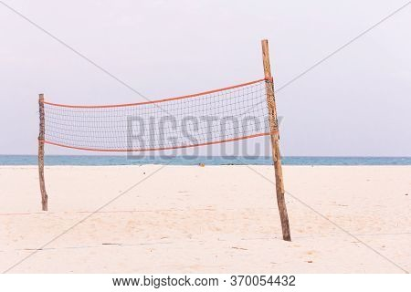 The Net For Playing Volleyball On The Beach
