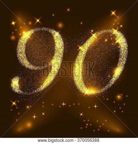 Alphabets Number 9 Nine And 0 Zero Of Gold Glittering Stars. Illustration Vector.