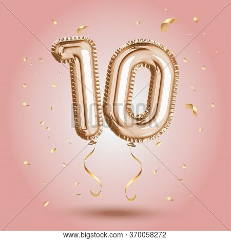 Elegant Pink Greeting Celebration Ten Years Birthday Anniversary Number 10 Foil Gold Balloon. Happy