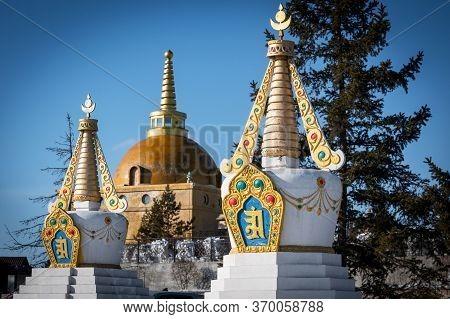 Stupa Of The Famous Datsan Rinpoche Bagsh, Buddhism Temple At Ulan-ude, Siberia, Russia