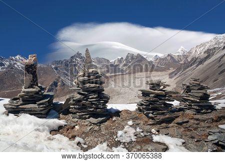 Stone Chortens On Chukhung Ri In Sagarmatha National Park, Nepal Himalaya. Chukhung Ri Is A Rocky Pe