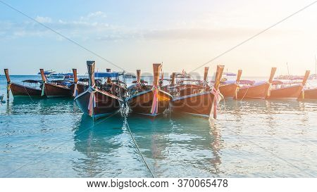 Tropical Beach, Traditional Long Tail Boats With Golden Sunset, Andaman Sea, Thailand Tropical Vacat