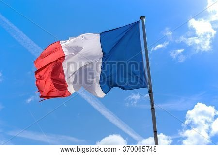 Mont Saint Michel, France - September 2, 2019: This Is The Flag Of Italy Fluttering In The Wind.