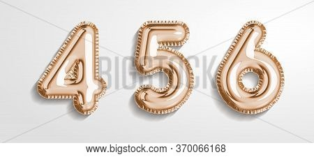 Soft Rose Gold Balloon Number 4, 5, 6 Realistic 3d Render Air Balloon. Collection Of Balloons Number