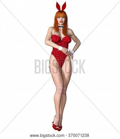 Bunny Girl.sexy Woman Long Legs. Swimsuit Corset And Shoes.