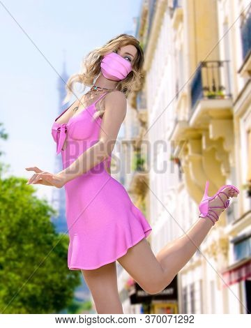 Beautiful Woman In Short Light Slim Pink Summer Dress And Medical Mask Eiffel Tower In Paris