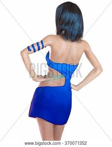 Beautiful Woman In Short Evening Mini Dress.