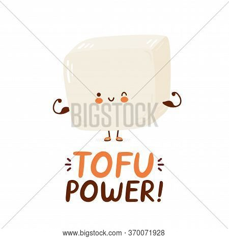 Cute Happy Funny Tofu Show Muscle. Vector Cartoon Character Hand Drawing Style Illustration. Isolate