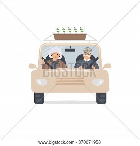 Elderly Man And Woman Sit In Front Seat Of Car And Look Through Windshield.front View. Cute Married