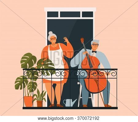 An Elderly Couple Is Gardening On The Balcony. Grandparents On The Balcony With Plants. Hobbies For