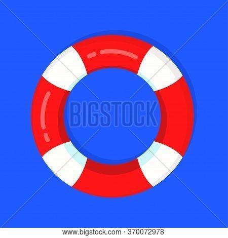 Cartoon Lifebuoy Summer Symbol, Life Preserver, Vector Colorful Flat Illustration Isolated On White