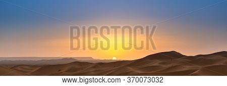 Merzouga In The Sahara Desert In Morocco. Web Banner In Panoramic View.